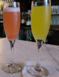 mimosas in glass