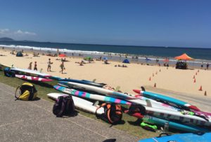 beach and surfboards